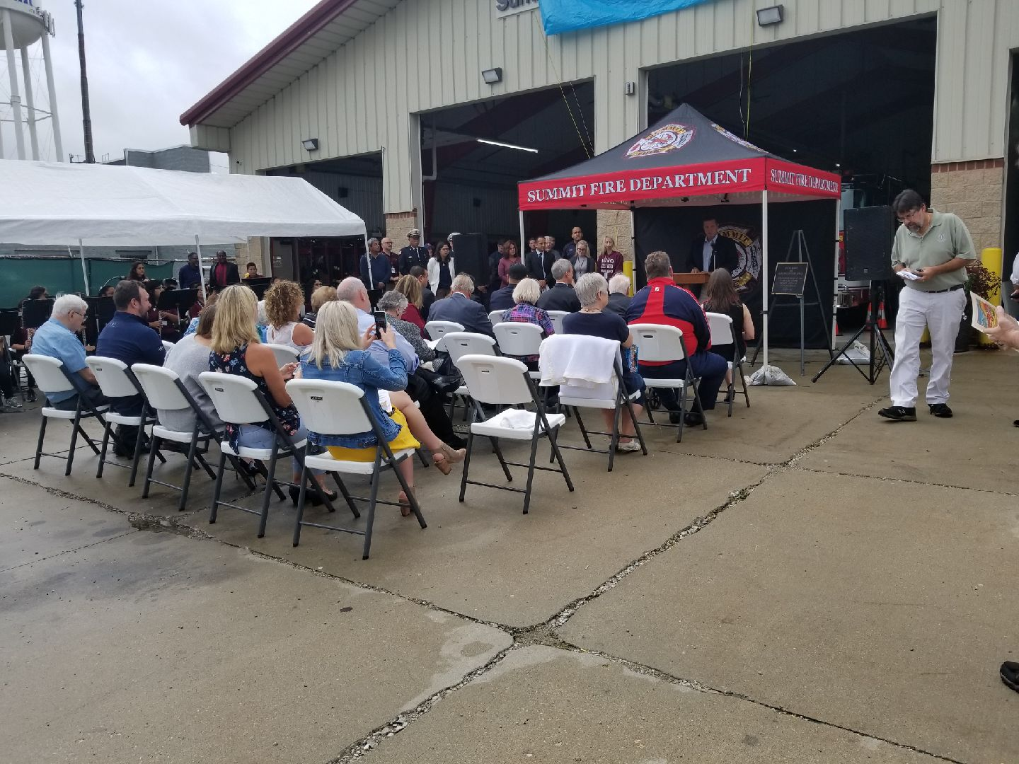 Crowd seated for Kurcz&#39s Fire House Dedication