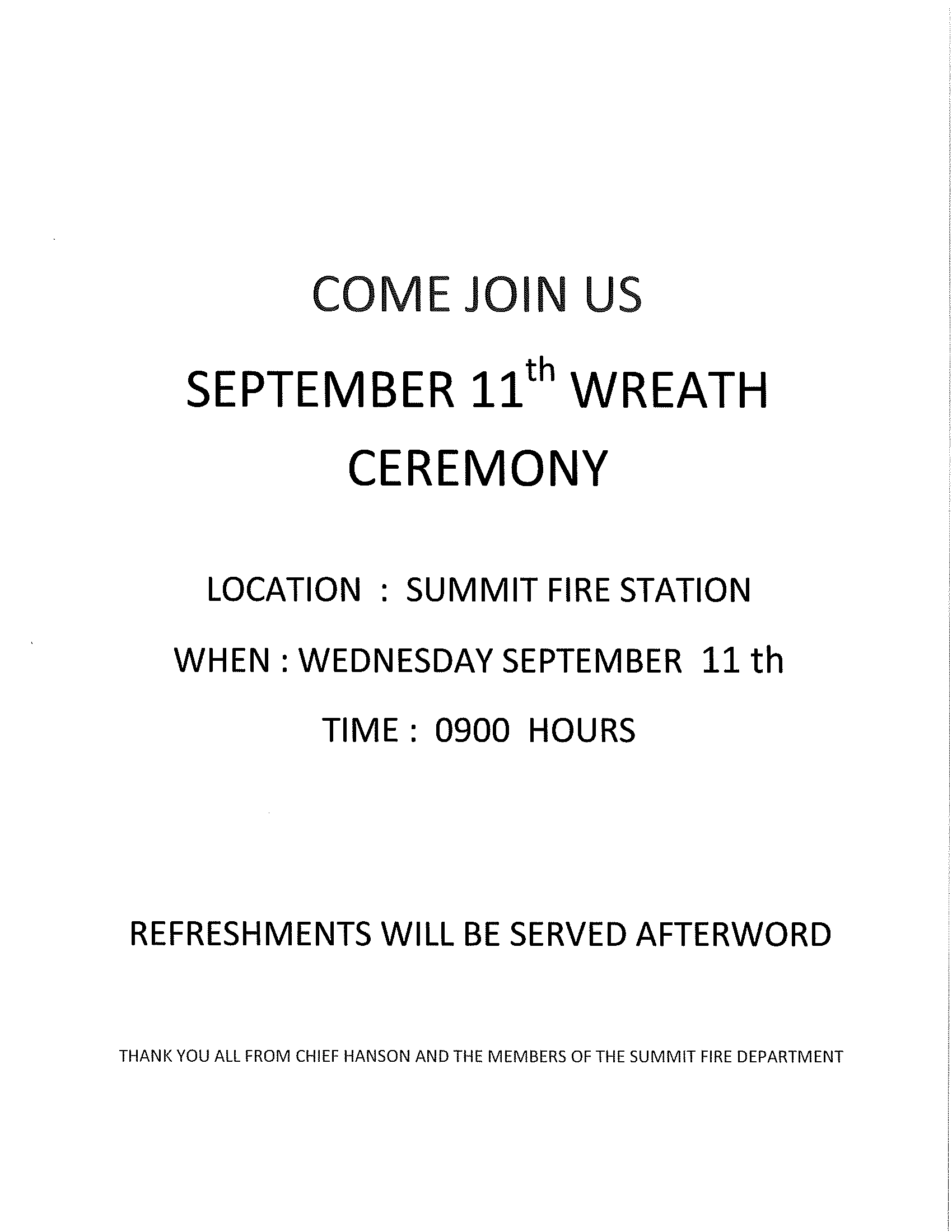 September 11th Wreath Ceremony Flyer