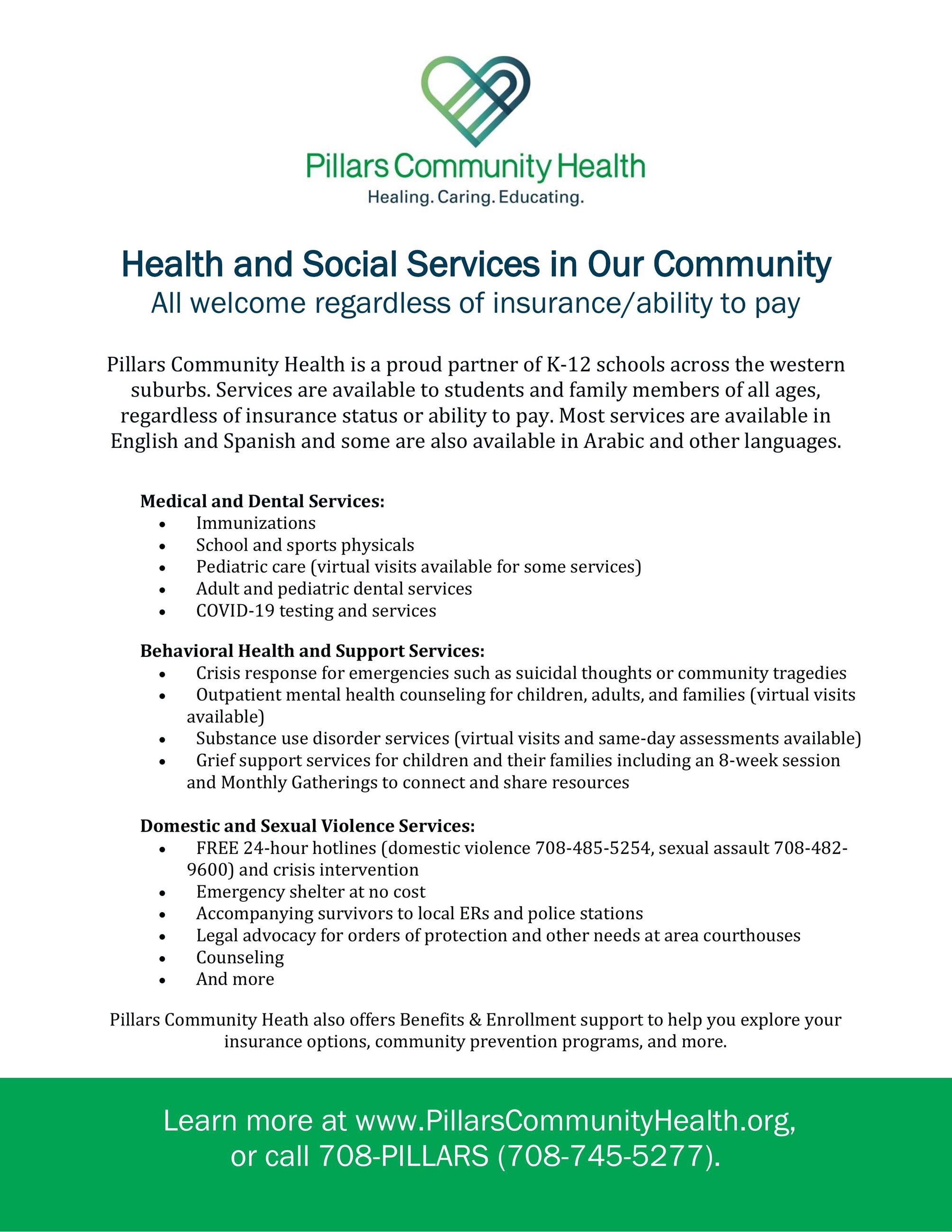 Pillars Community Health Flyer
