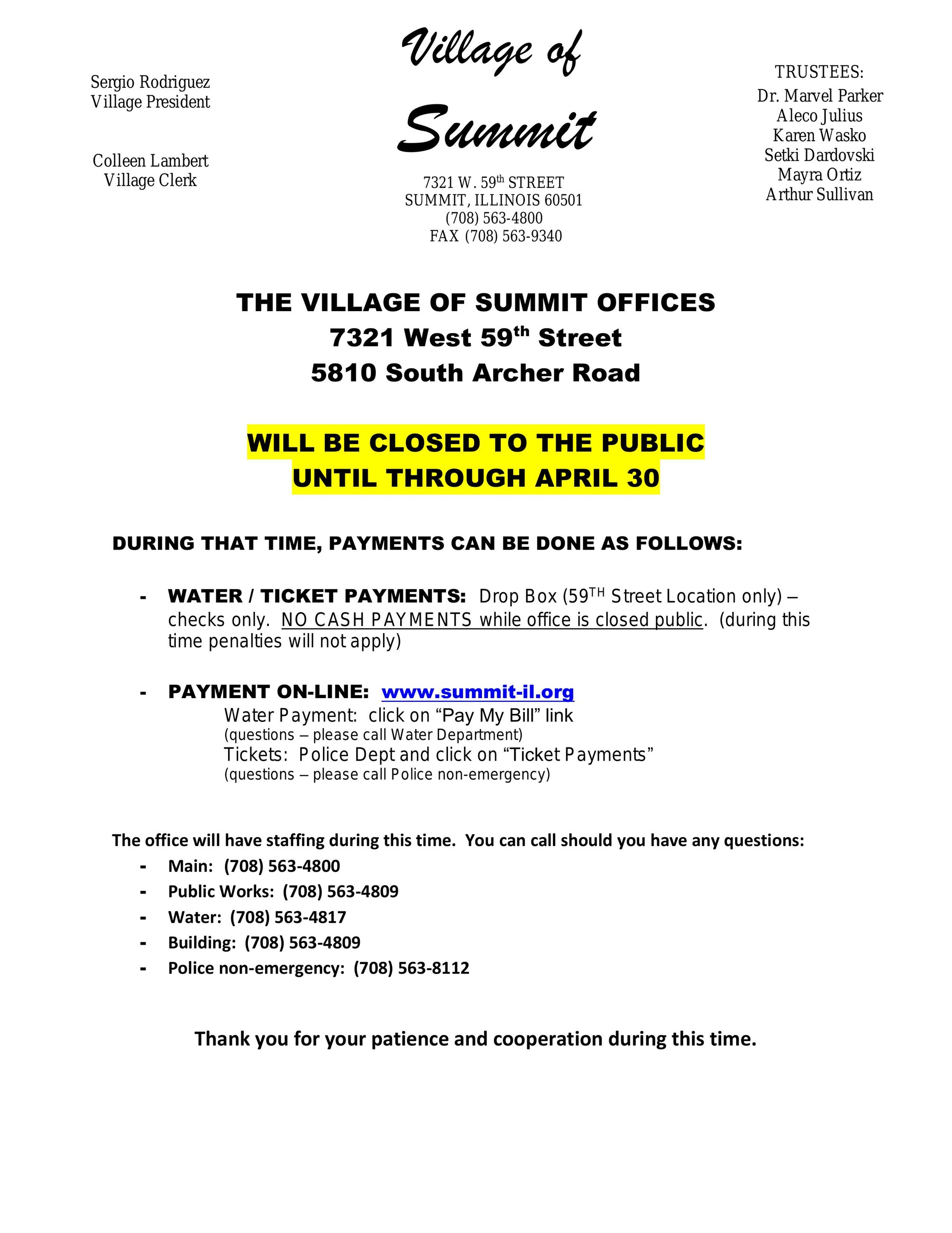 Village Office Closure Letter March 2020
