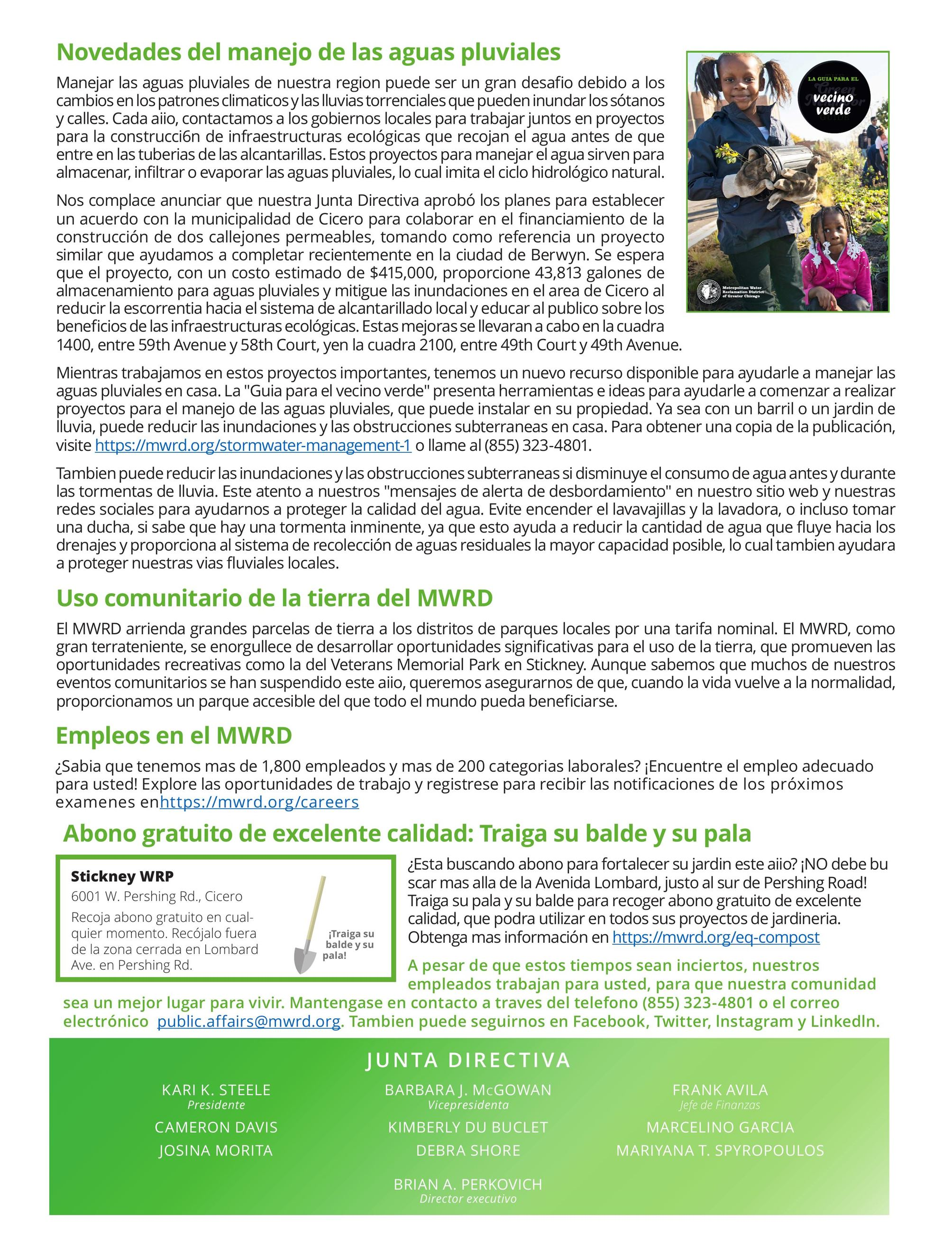 MWRD Neighborhood Newsletter Spanish page 2