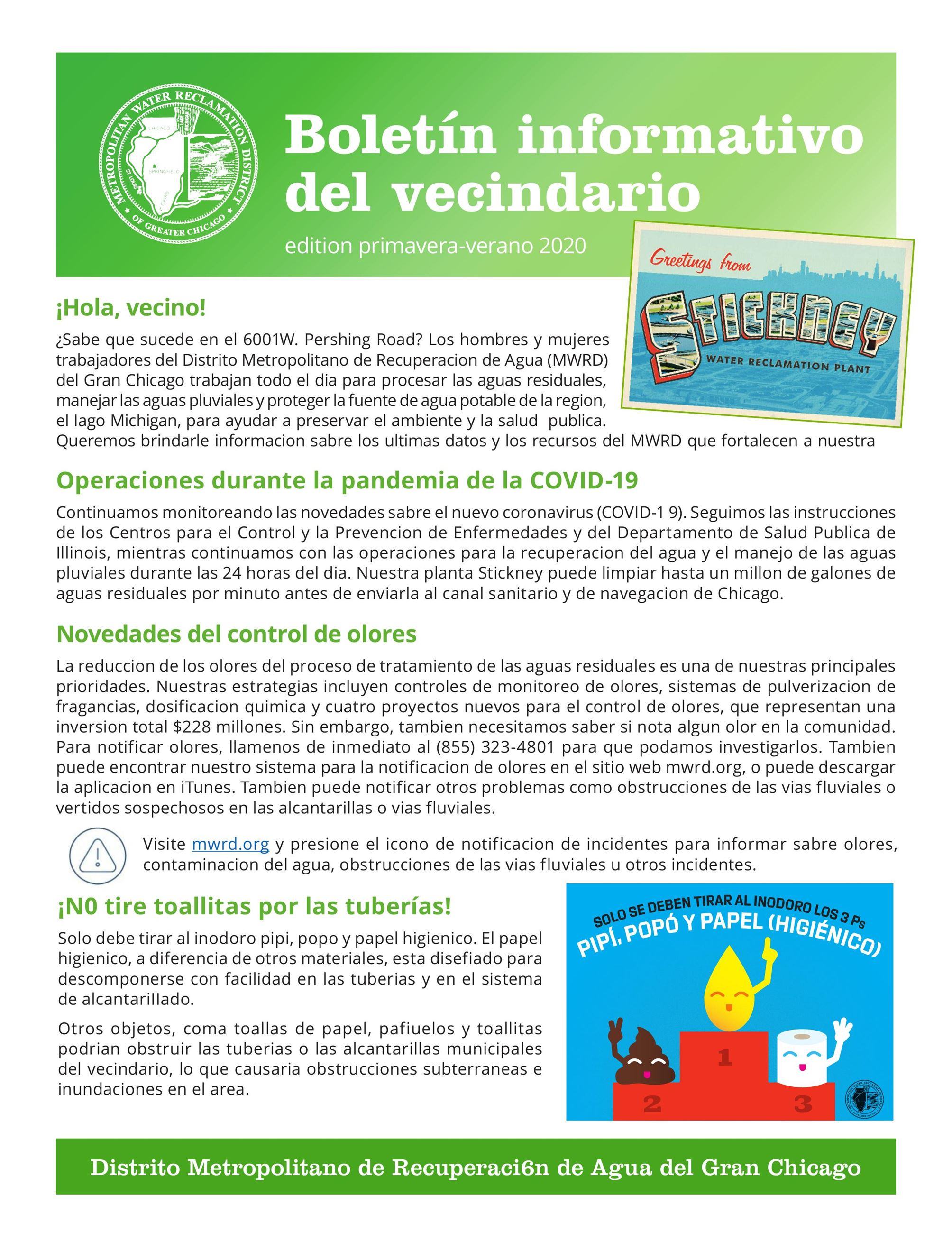 MWRD Neighborhood Newsletter Spanish page 1