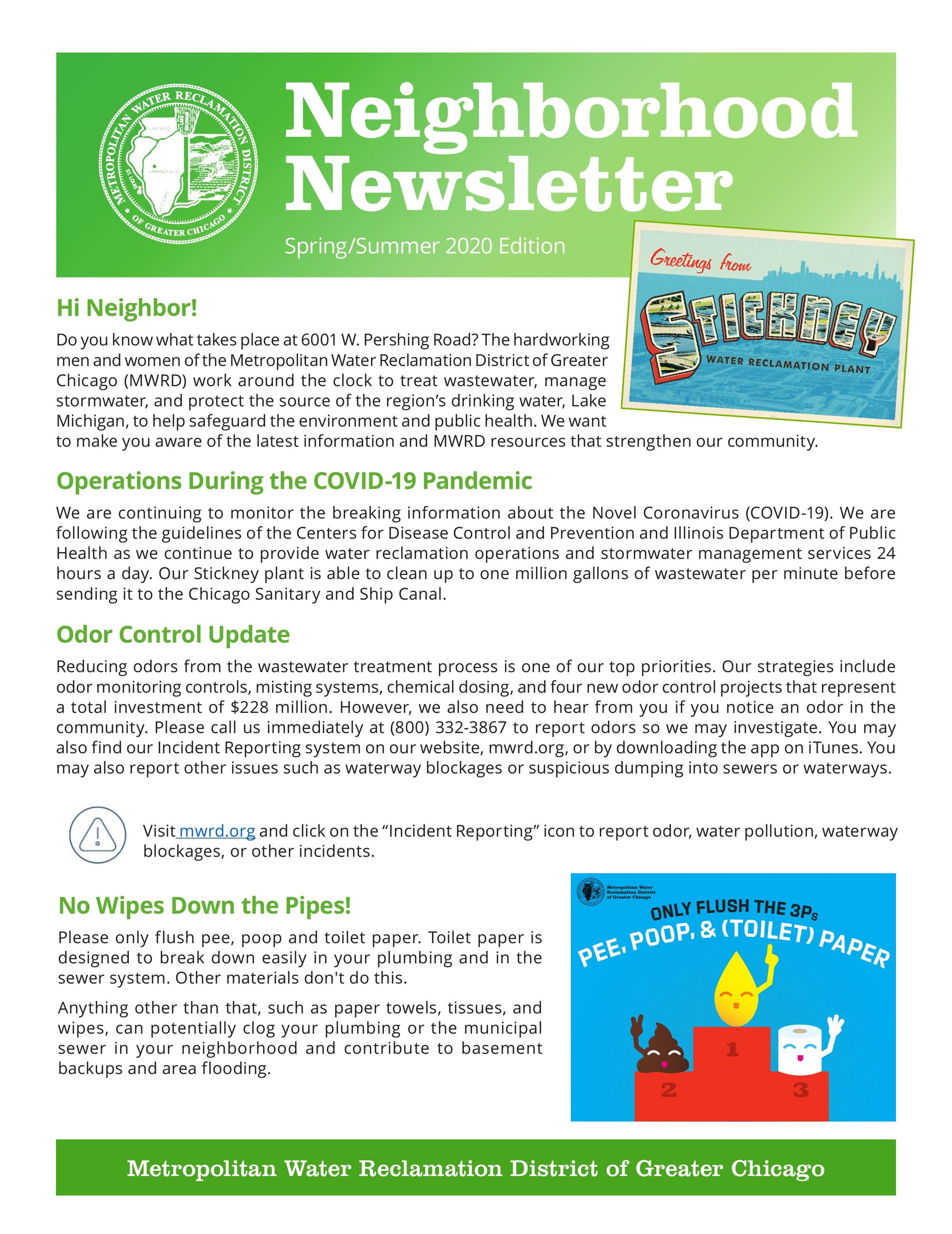 MWRD Neighborhood Newsletter English page 1
